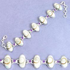 58.99cts natural white shiva eye amethyst 925 silver tennis bracelet p34559