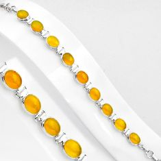 34.03cts natural yellow amber bone 925 sterling silver tennis bracelet p89023