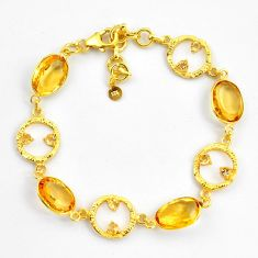 18.41cts natural yellow citrine 925 silver 14k gold tennis bracelet p87501