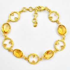 18.51cts natural yellow citrine 925 silver 14k gold tennis bracelet p87502