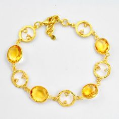 23.96cts natural yellow citrine 925 silver 14k gold tennis bracelet p87519