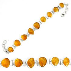 45.06cts natural yellow citrine 925 sterling silver tennis bracelet p34531