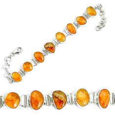 40.99cts natural yellow citrine 925 sterling silver tennis bracelet p34532