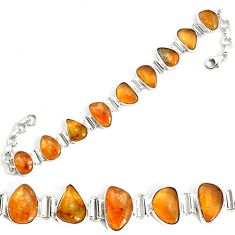 48.44cts natural yellow citrine 925 sterling silver tennis bracelet p34533