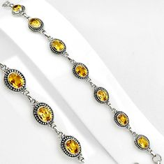 15.40cts natural yellow citrine 925 sterling silver tennis bracelet p89063