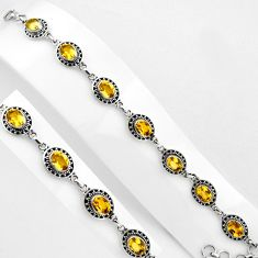 16.22cts natural yellow citrine 925 sterling silver tennis bracelet p89073