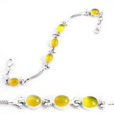 19.45cts natural yellow opal 925 sterling silver tennis bracelet jewelry p54691