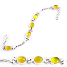 19.63cts natural yellow opal 925 sterling silver tennis bracelet jewelry p54692