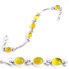 19.17cts natural yellow opal 925 sterling silver tennis bracelet jewelry p54693