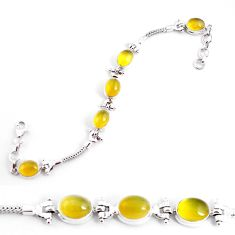 20.22cts natural yellow opal 925 sterling silver tennis bracelet jewelry p54695