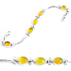 19.17cts natural yellow opal 925 sterling silver tennis bracelet jewelry p54697