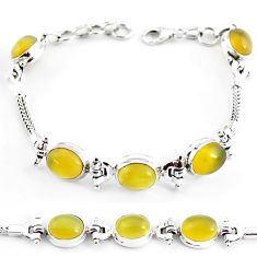 21.39cts natural yellow opal 925 sterling silver tennis bracelet p54780