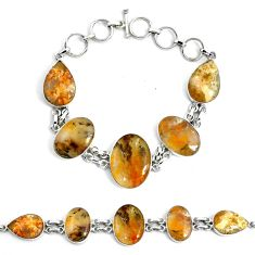 56.86cts natural yellow plume agate 925 silver tennis bracelet jewelry p46038