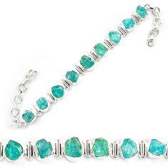 41.98cts neon natural blue apatite rough 925 silver tennis bracelet p69071