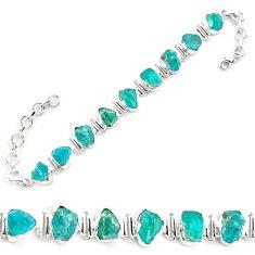 40.36cts neon natural blue apatite rough 925 silver tennis bracelet p69072
