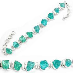 48.13cts neon natural blue apatite rough 925 silver tennis bracelet p69073