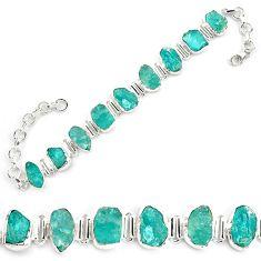 43.58cts neon natural blue apatite rough 925 silver tennis bracelet p69074