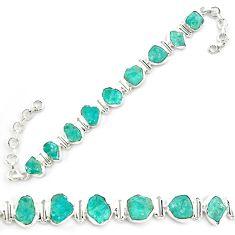 44.87cts neon natural blue apatite rough 925 silver tennis bracelet p69076