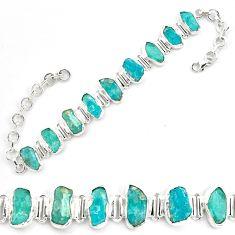 42.82cts neon natural blue apatite rough 925 silver tennis bracelet p69078