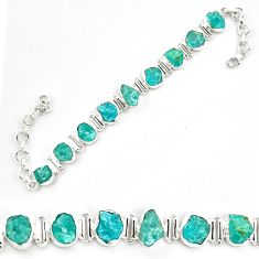 39.01cts neon natural blue apatite rough 925 silver tennis bracelet p69080