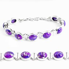 33.99cts purple copper turquoise 925 sterling silver tennis bracelet p48125