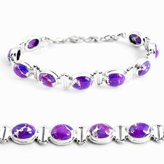 35.09cts purple copper turquoise 925 sterling silver tennis bracelet p48126