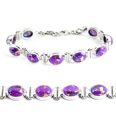 33.99cts purple copper turquoise 925 sterling silver tennis bracelet p48129