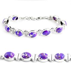 35.51cts purple copper turquoise 925 sterling silver tennis bracelet p48137