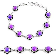 18.03cts purple copper turquoise 925 sterling silver tennis bracelet p65123