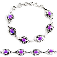 9.28cts purple copper turquoise 925 sterling silver tennis bracelet p65126