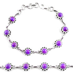 8.73cts purple copper turquoise 925 sterling silver tennis bracelet p65127