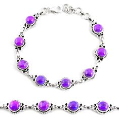 18.04cts purple copper turquoise 925 sterling silver tennis bracelet p65129