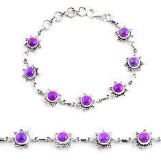 7.87cts purple copper turquoise 925 sterling silver tennis bracelet p65132