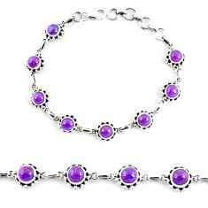 8.88cts purple copper turquoise 925 sterling silver tennis bracelet p65133