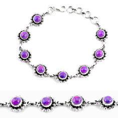 7.96cts purple copper turquoise 925 sterling silver tennis bracelet p65137