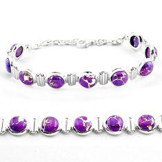 25.61cts purple copper turquoise 925 sterling silver tennis bracelet p81445
