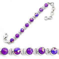 18.37cts purple copper turquoise 925 sterling silver tennis bracelet p87828