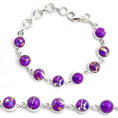 17.10cts purple copper turquoise 925 sterling silver tennis bracelet p87830
