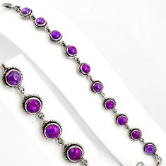 14.34cts purple copper turquoise 925 sterling silver tennis bracelet p89132