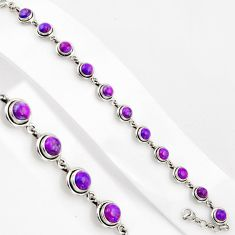 16.50cts purple copper turquoise 925 sterling silver tennis bracelet p89133