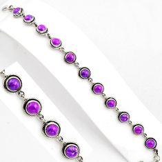 15.63cts purple copper turquoise 925 sterling silver tennis bracelet p89134