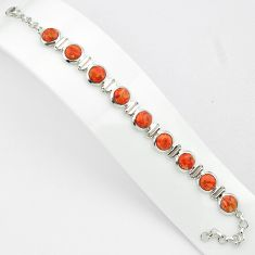 24.11cts red copper turquoise 925 sterling silver tennis bracelet p81472