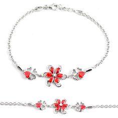 6.57cts red garnet quartz topaz 925 sterling silver bracelet jewelry c3486