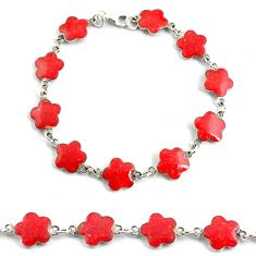 5.87gms red sponge coral enamel 925 sterling silver tennis bracelet c4622