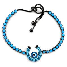 7.08cts rhodium blue evil eye talismans 925 silver adjustable bracelet c4943