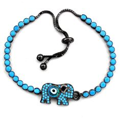 7.21cts rhodium blue evil eye talismans 925 silver adjustable bracelet c4957