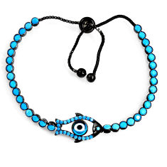 6.72cts rhodium blue evil eye talismans 925 silver adjustable bracelet c5603