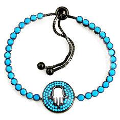 6.78cts rhodium blue evil eye talismans 925 silver adjustable bracelet c5605