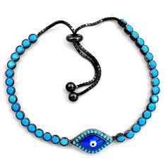 6.01cts rhodium blue evil eye talismans silver tennis adjustable bracelet c4870