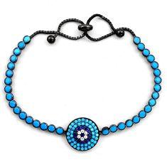 Rhodium blue sleeping beauty turquoise 925 silver adjustable bracelet c4874